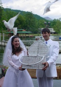 unique wedding dove release at Camp Rockmont, NC